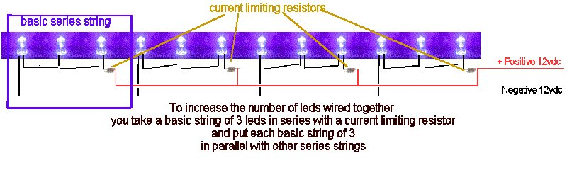 Quickar Electronics How To Hook Up Leds Choosing The Correct Wiring Scheme The Proper Current Limiting Resistors And Verifying Performance